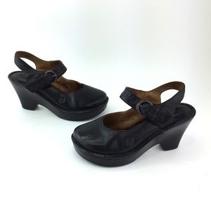 BORN Mary Jane Heels Black Buckle Strap